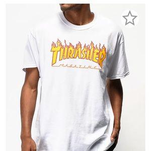 thrasher flame logo white t-shirt skater